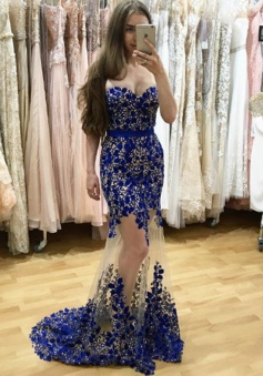 Mermaid Sweetheart Floor-Length Royal Blue Tulle Prom Dress with Lace