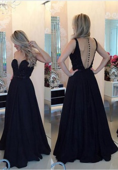 A-Line Jewel sleeveless Floor-Length Black Stretch Satin Prom Dress with Beading