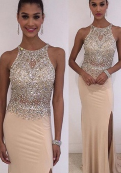 Mermaid Jewel Sleeveless Floor-Length Pearl Pink Spandex Prom Dress with Beading