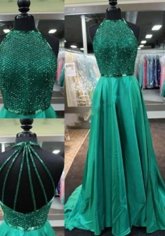 A-Line Jewel Sleeveless Sweep Train Green Stretch Satin Dress with Beading Backless