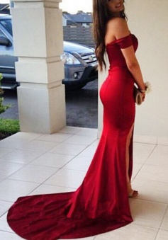Mermaid Off-the-Shoulder Sweep Train Split-Side Dark Red Stretch Satin Prom Dress