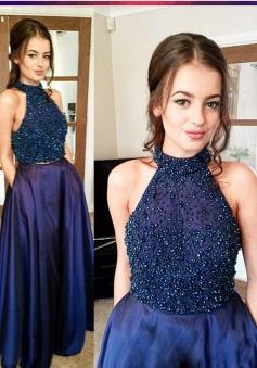 Two Piece Jewel Sleeveless Floor-Length Dark Blue Taffeta Prom Dress with Beading Pocket