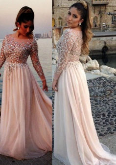 A-Line Bateau Long Sleeves Sweep Train Pearl Pink Prom Dress with Beading