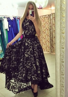 A-Line Jewel Sleeveless Hi-Low Black Lace Prom Dress with Sash