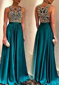 A-Line Jewel Sleeveless Sweep Train Turquoise Stretch Satin Prom Dress with Beading