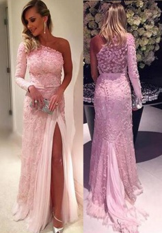 Stylish One Shoulder Long Sleeve Sweep Train Pink Lace Prom Dress with Legslit