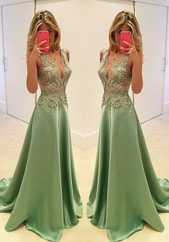 A-Line Deep V-Neck Sweep Train Mint Stretch Satin Prom Dress with Appliques