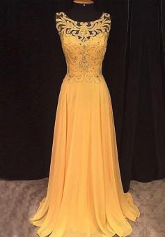 A-Line Scoop Sleeveless Long Yellow Chiffon Prom Dress with Beading