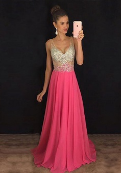 A-Line V-Neck Sweep Trian Rose Pink Chiffon Prom Dress with Beading