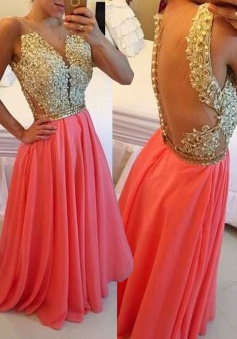 A-Line Jewel Floor-Length Coral Chiffon Prom Dress with Appliques Beading