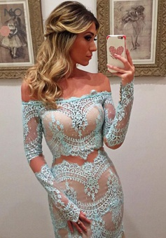 Mermaid Off-the-Shoulder Floor-Length Long Sleeves Blue Lace Prom Dress