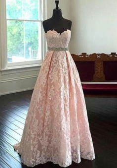 A-Line Sweetheart Sweep Train Pearl Pink Lace Prom Dress with Beading