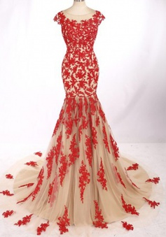 Modern Jewel Cap Sleeves Sweep Train Mermaid Prom Dress with Red Lace Backless