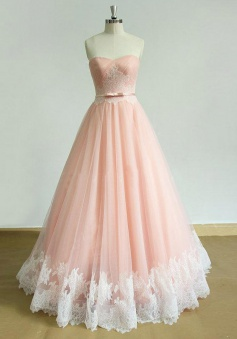 Chic Sweetheart Lace Sweep Train Pink Ruched Prom Dress with Sash