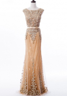 Elegant Mermaid Lace SleevelessPearls Long Prom Dress with Sash Beading