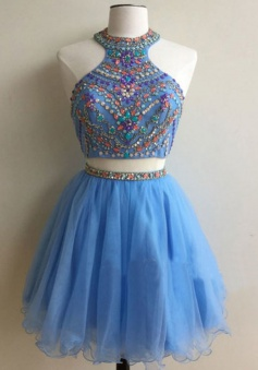 Luxurious High Neck Sleeveless Backless Beading Rhinestone Short Prom Dress