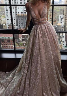 A-Line Deep V-Neck Court Train Open Back Champagne Sequined Prom Dress with Beading