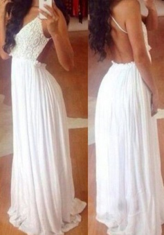 A-Line V-Neck Sleeveless Long White Chiffon Prom Dress with Lace Top