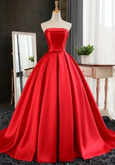 A-Line Strapless Sweep Train Red satin Prom Dress with Bowknot