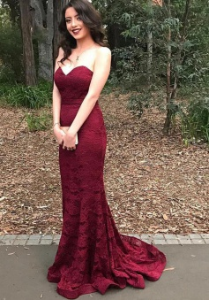 Mermaid Sweetheart Sweep Train Burgundy Lace Prom Dress