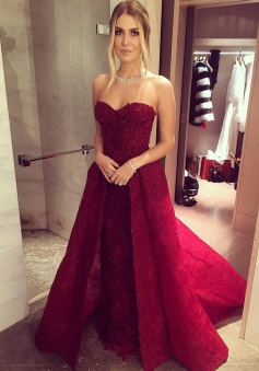 A-Line Sweetheart  Sweep Train Burgundy Prom Dress with Appliques