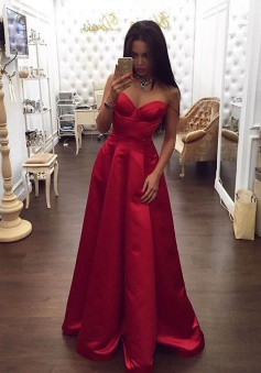 A-Line Spaghetti Straps Floor-Length Red Satin Prom Dress with Ruched