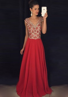 A-Line V-Neck Cap Sleeves Floor-Length Red Chiffon Prom Dress with Beading