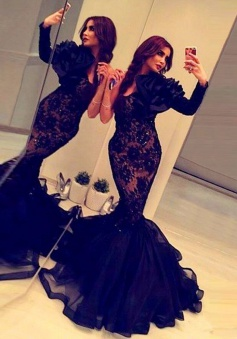 Mermaid Scoop Long Sleeves Sweep Train Black Prom Dress with Flower Beading