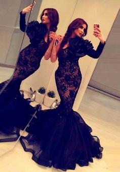 Mermaid Scoop Long Sleeves Sweep Train Black Prom Dress with Flower Beading