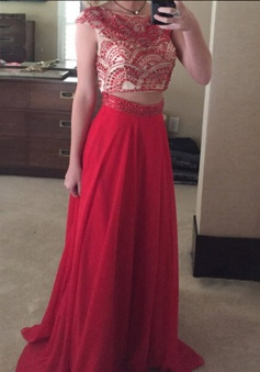 Two Piece Bateau Cap Sleeves Sweep Train Red Chiffon Prom Dress with Beading