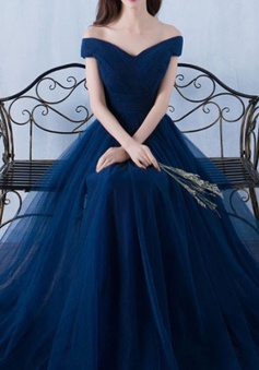 A-Line Off-the-Shoulder Short Sleeves Sweep Train Navy Blue Tulle Prom Dress