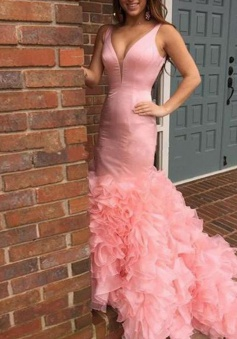 Mermaid V-Neck Sleeveless Sweep Train Pink Stretch Satin Prom Dress