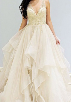 A-Line V-Neck Sleeveless Sweep Train Ivory Beading Prom Dress with Lace