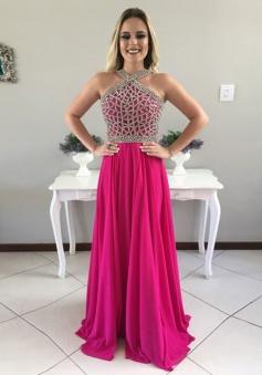 A-Line Halter Sleeveless Sweep Train Backless Fuchsia Chiffon Prom Dress with Beading