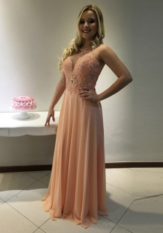 A-Line Crew Sleeveless Floor-Length Peach Chiffon Prom Dress with Beading