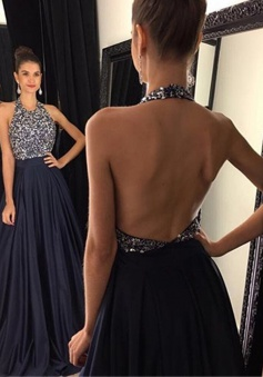 A-Line Halter Sweep Train Backless Navy Blue Satin Prom Dress with Beading