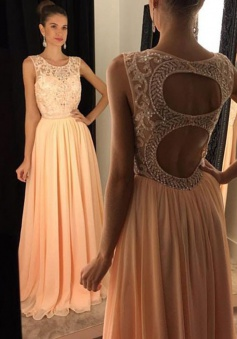 A-Line Round Floor-Length Open Back Peach Chiffon Prom Dress with Beading