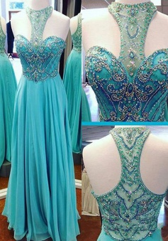 A-Line High Neck Floor-Length Turquoise Chiffon Prom Dress with Beading
