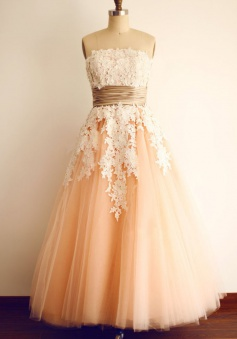 A-Line Strapless Sleeveless Ankle-Length Coral Tulle Prom Dress with Appliques