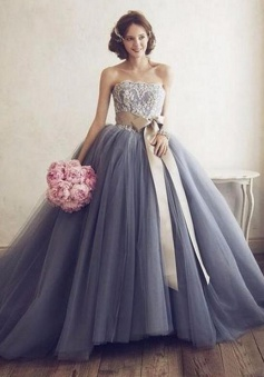 A-Line Strapless Sleeveless Court Train Sash Grey Tulle Prom Dress with Lace