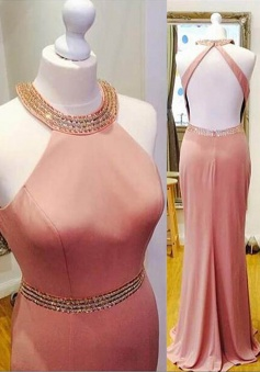 Sheath Halter Sleeveless Floor-Length Backless Blush Prom Dress with Beading