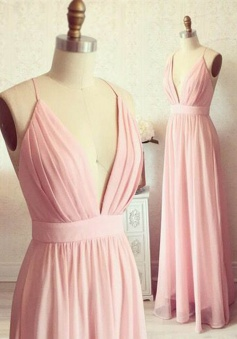 A-Line Spaghetti Straps Floor-Length Backless Pink Prom Dress with Draped