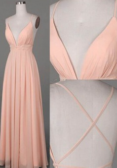 A-Line Spaghetti Straps Floor-Length Criss-Cross Straps Peach Prom Dress