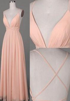 A-Line Spaghetti Straps Floor-Length Criss-Cross Straps Peach Prom Dress