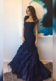 Mermaid Strapless Sweep Train Navy Blue Organza Tired Prom Dress with Lace