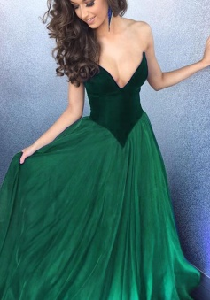 A-Line Sweetheart Floor Length Green Dropped Prom Dress with Pleated