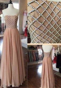 A-Line Strapless Floor Length Pleated Blush Prom Dress with Beading