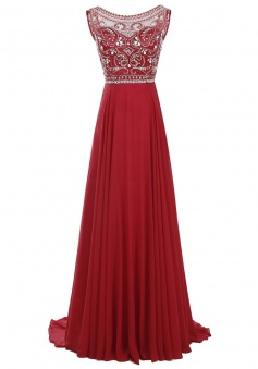 A-Line Round Sleeveless Sweep Train Dark Red Chiffon Prom Dress with Beading