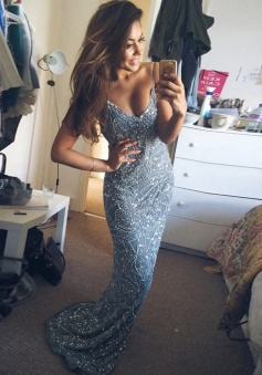 Mermaid V-Neck Sweep Train Backless Blue Prom Dress with Beading