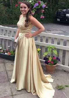 A-Line High Neck Sleeveless Sweep Train Gold Prom Dress with Beading